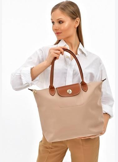 TH Bags TH Bags 40 x 30 x 15 cm Fermuarlı Poliüretan Kadın Çanta Bej